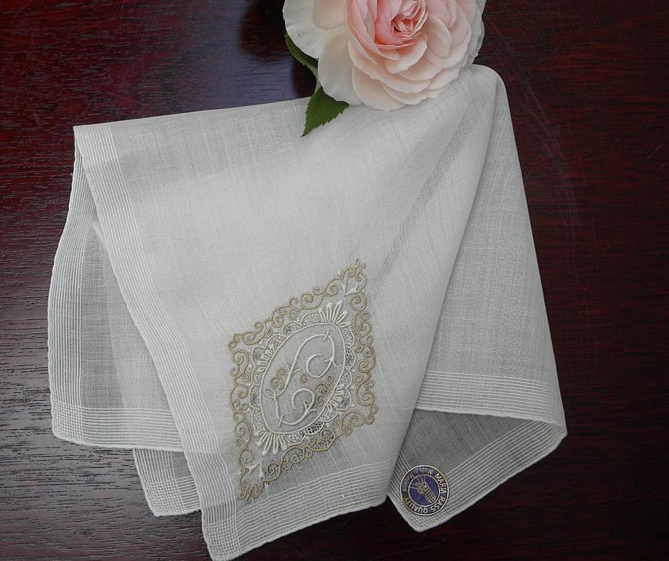 Vintage Unused Madeira  Monogram L Bridal Handkerchief - The Pink Rose Cottage