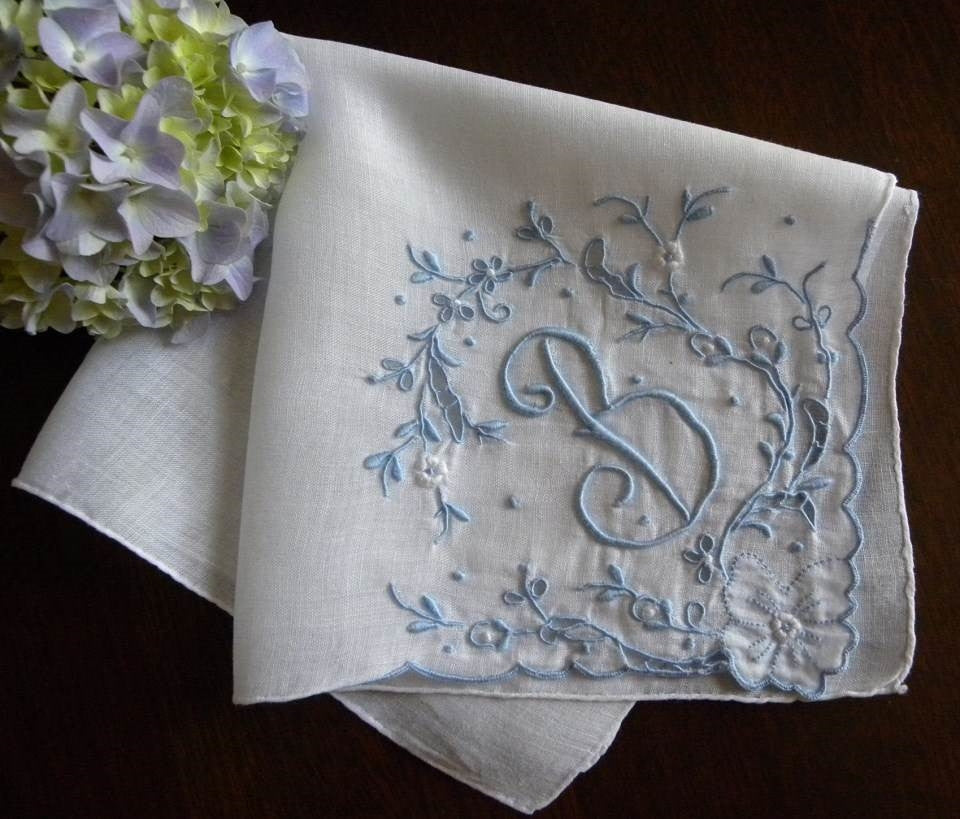"Vintage Madeira Monogrammed ""B"" Wedding Bridal Handkerchief with Blue - The Pink Rose Cottage"