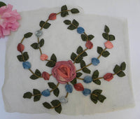 Antique French Silk Ribbonwork Roses Applique Milinery Wedding Dress Trim - The Pink Rose Cottage