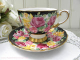 Vintage Tuscan Black Teacup and Saucer with Pink and Yellow Roses - The Pink Rose Cottage