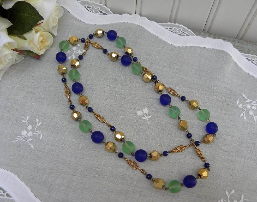 Vintage Cobalt Blue Green and Gold Glass Beaded Necklace with Filigree - The Pink Rose Cottage
