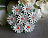 Vintage Enameled Cluster of Daisies Pin - The Pink Rose Cottage