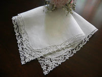 Vintage Linens and Lace Bridal Wedding Handkerchief with Forget Me Nots - The Pink Rose Cottage