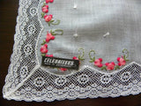 Vintage Tagged Celebritees Embroidered Pink Roses and Lace Wedding Bridal Handkerchief - The Pink Rose Cottage