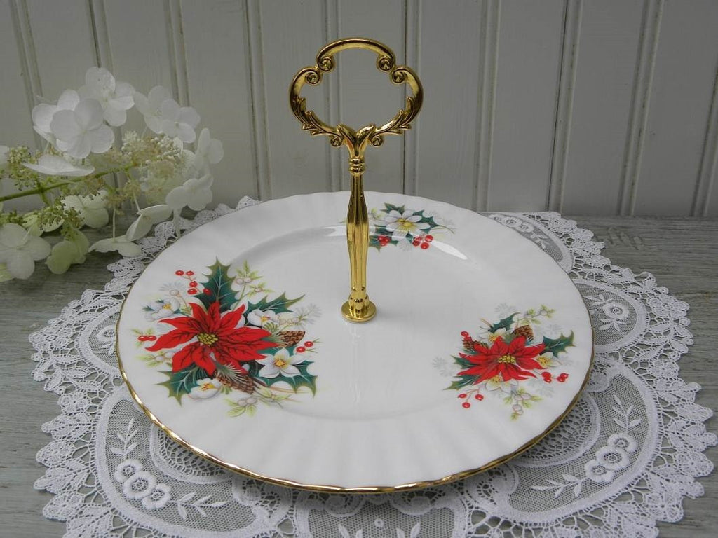 "Vintage Royal Albert ""Poinsettia"" Yuletide Christmas Tidbit Tray - The Pink Rose Cottage"