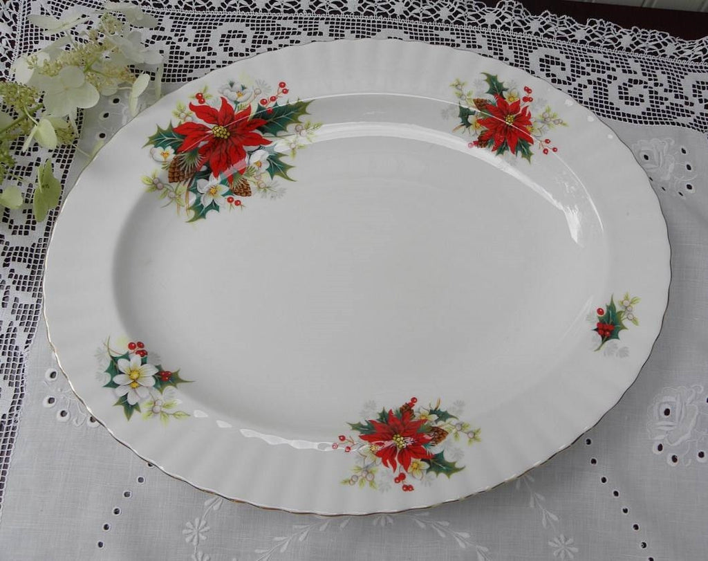 "Vintage Royal Albert ""Poinsettia"" Yuletide Christmas Large Serving Platter - The Pink Rose Cottage"