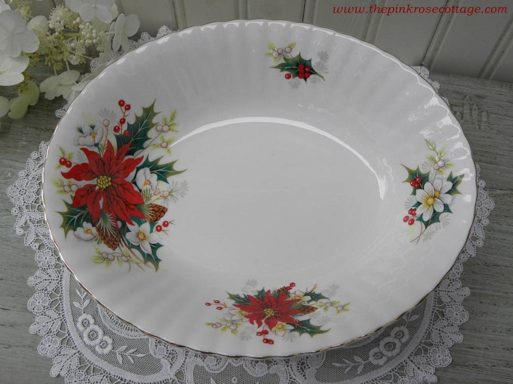 "Vintage Royal Albert ""Poinsettia"" Yuletide Christmas Serving Vegetable Bowl - The Pink Rose Cottage"