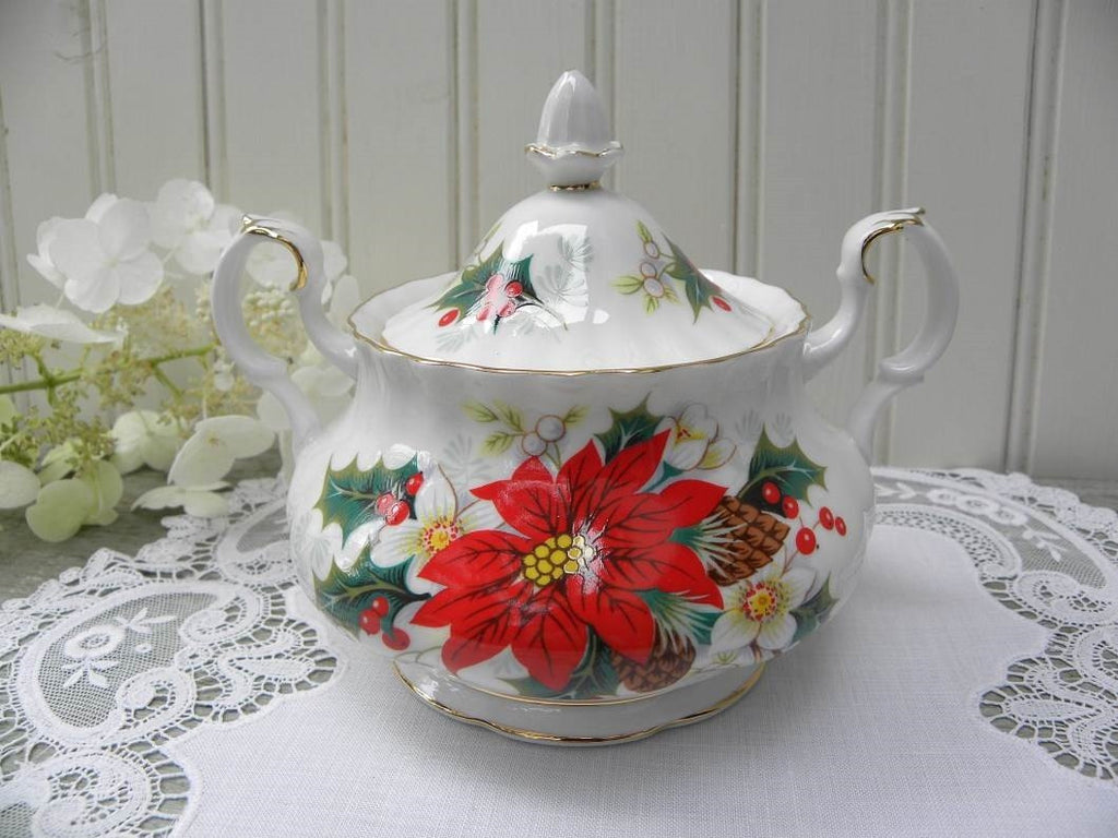"Vintage Royal Albert ""Poinsettia"" Yuletide Christmas Sugar Bowl - The Pink Rose Cottage"