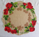 Vintage Round Red Rose Handkerchief - The Pink Rose Cottage