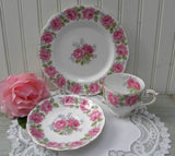 "Vintage Queen Ann Pink ""Lady Alexander Rose"" Teacup Saucer and Dessert Plate - The Pink Rose Cottage"