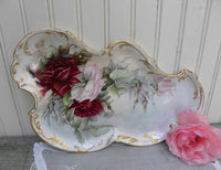 Vintage Hand Painted Burgundy and Pink Rose Vanity Tray France - The Pink Rose Cottage
