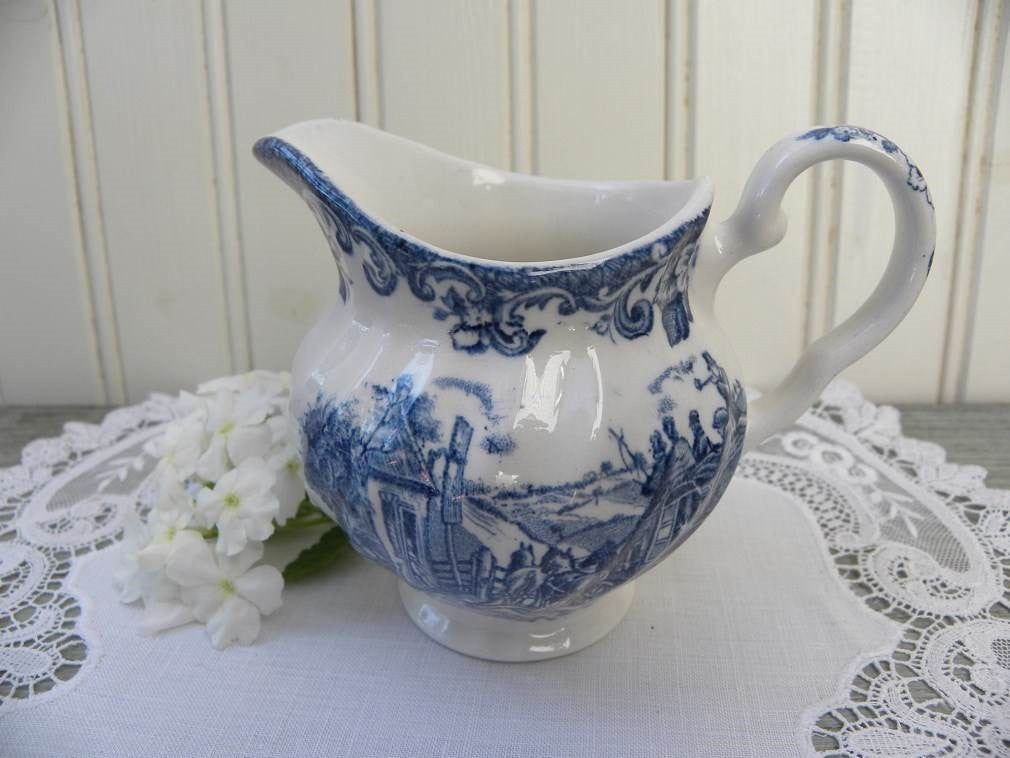 Vintage Blue and White Transferware Creamer - The Pink Rose Cottage