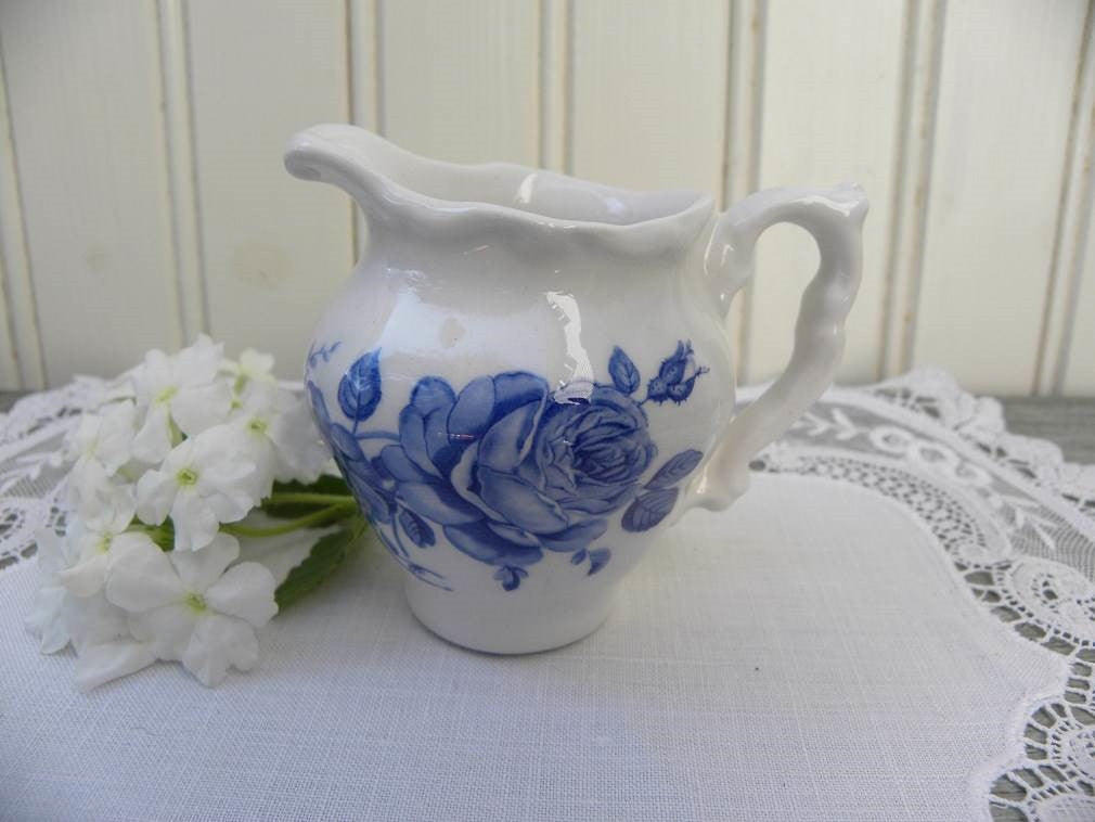 Vintage Blue and White Rose Transferware Individual Creamer - The Pink Rose Cottage