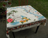 "MWT Vintage California Hand Prints CHP ""Florida Map"" Tablecloth - The Pink Rose Cottage"