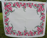 Vintage California Hand Prints CHP Pink Orchid Tablecloth - The Pink Rose Cottage