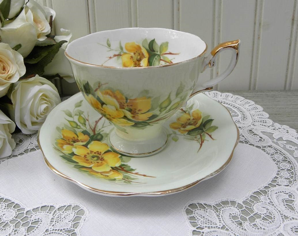 "Vintage Royal Standard ""Wild Rose"" Yellow Rose on Green  Teacup and Saucer - The Pink Rose Cottage"