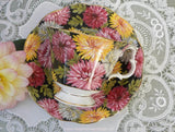 "Vintage Royal Albert ""Christine"" Black Chintz Chrysanthemum Teacup and Saucer - The Pink Rose Cottage"