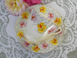 Vintage Roslyn China Pink and Yellow Sweet Peas Teacup and Saucer - The Pink Rose Cottage