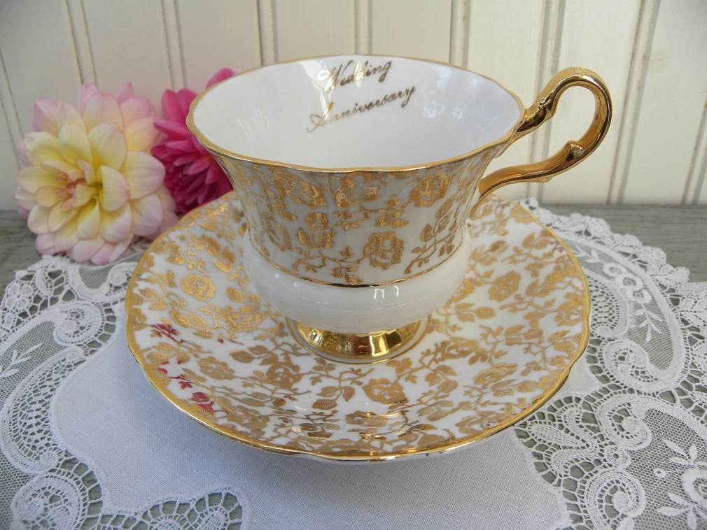"Vintage Gold Rose Chintz ""Wedding Anniversary"" Teacup and Saucer - The Pink Rose Cottage"