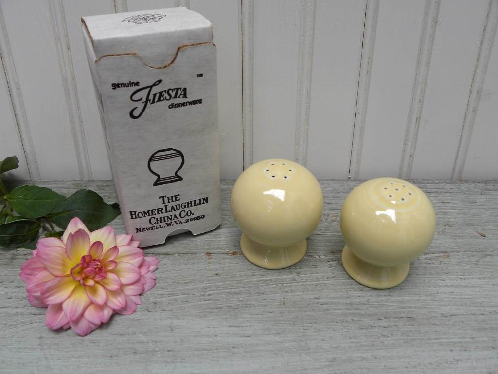 NIB Fiestaware Retired Yellow Salt and Pepper Shakers - The Pink Rose Cottage