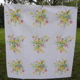 "Vintage Wilendur Yellow and Pink ""Cosmos"" Tablecloth - The Pink Rose Cottage"