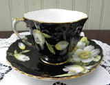 Rare Vintage Aynsley Magnolia Blossom Black Teacup and Saucer - The Pink Rose Cottage