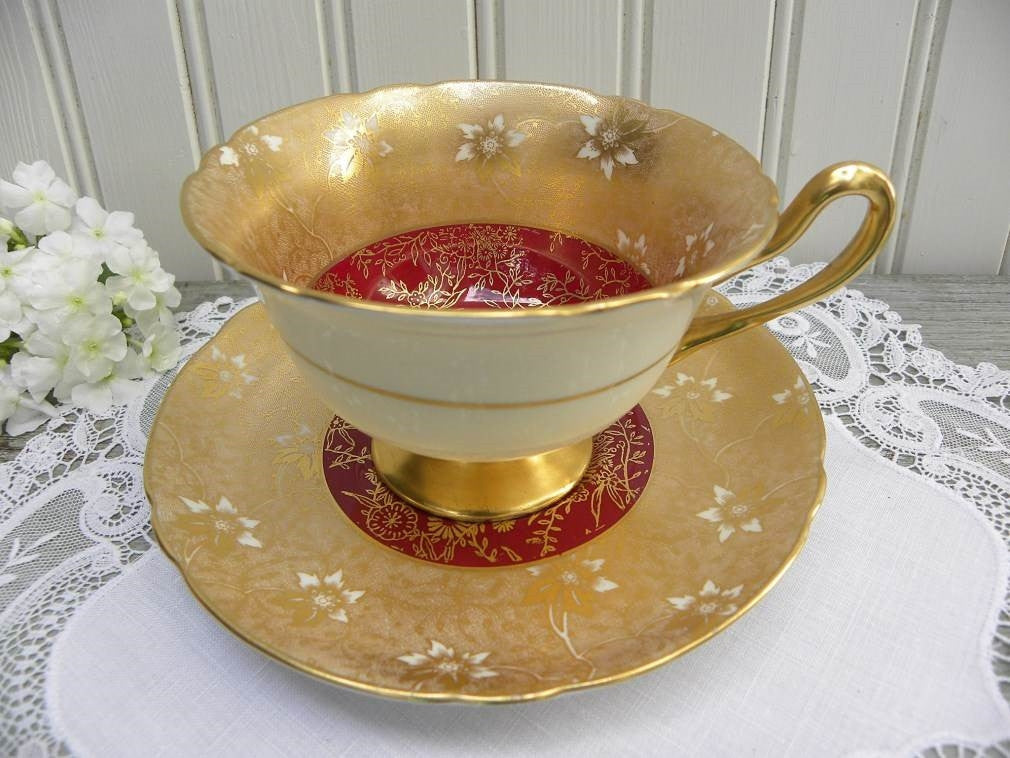 Vintage Shelley Gold & Burgundy Chintz Gainsborough Teacup and Saucer - The Pink Rose Cottage
