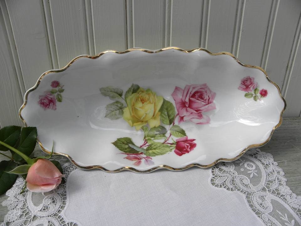 Vintage Oval Bowl with Pink and Yellow Roses - The Pink Rose Cottage