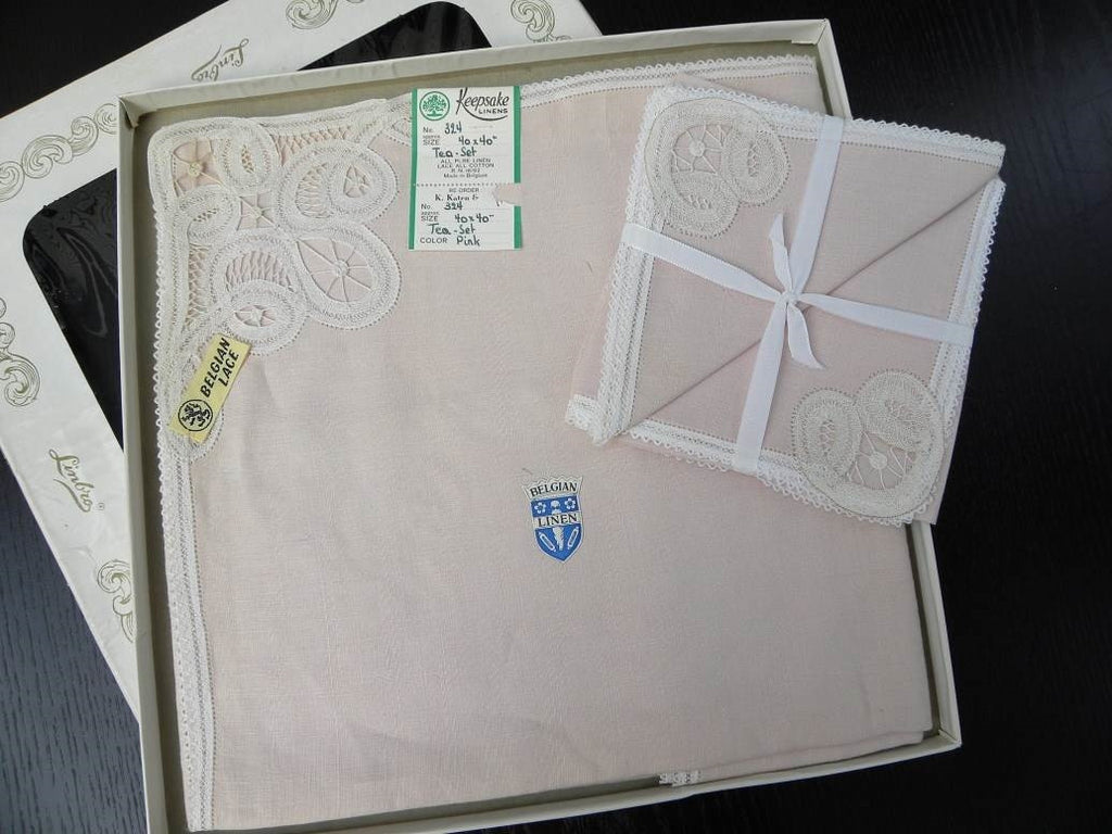 Unused in Box Vintage Pink Linen Belgian Lace Tablecloth and Napkin Set - The Pink Rose Cottage