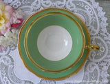 Vintage Royal Albert Crown China Green Teacup and Saucer - The Pink Rose Cottage