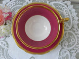 Vintage Royal Albert Crown China Dark Pink Teacup and Saucer - The Pink Rose Cottage