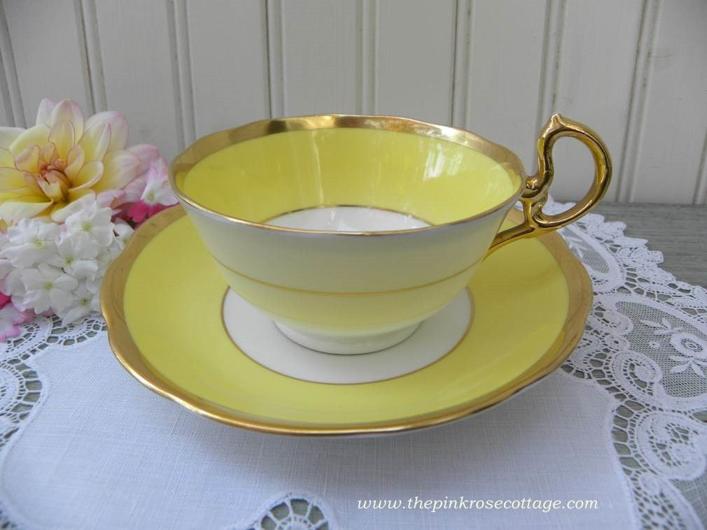 Vintage Royal Albert Crown China Yellow Teacup and Saucer - The Pink Rose Cottage