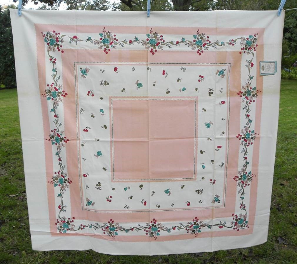 Unused Vintage ML Marlene Linens Pink Turquoise Cherries Strawberries Tablecloth - The Pink Rose Cottage