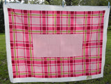 MWT Vintage Simtex Pavilion Plaid Red Pink and Chartreuse Tablecloth - The Pink Rose Cottage