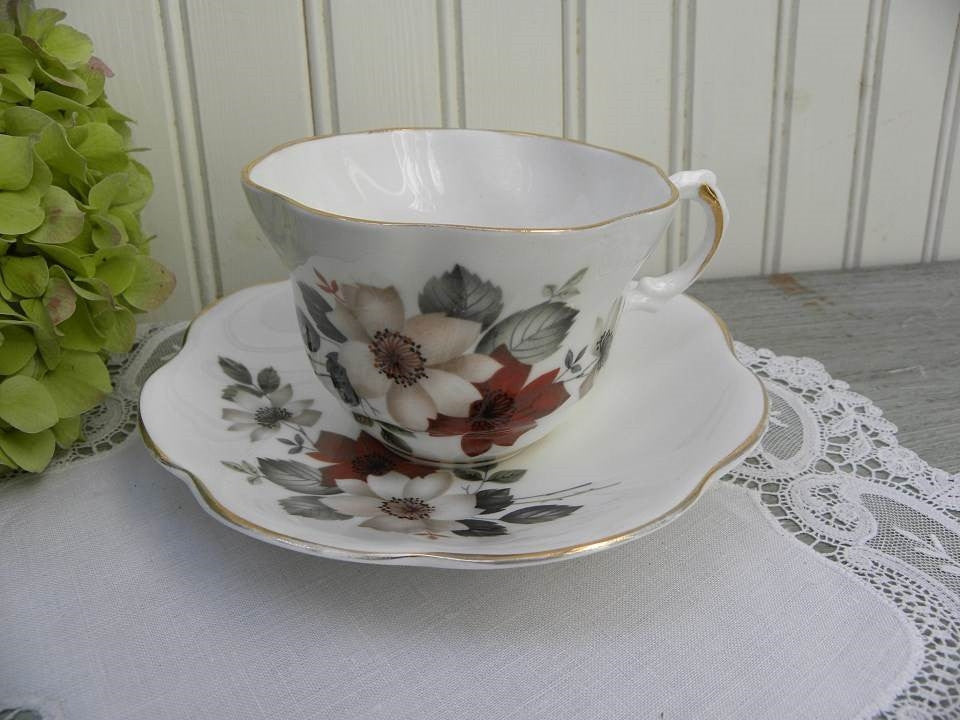 Vintage Royal Dover Teacup and Saucer with Red and White Wild Roses - The Pink Rose Cottage