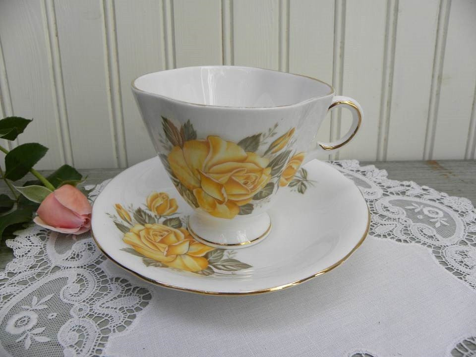 Vintage Yellow Rose Teacup and Saucer - The Pink Rose Cottage