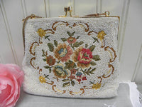 Elegant Vintage Beaded and Rose Tapestry Evening Bag - The Pink Rose Cottage