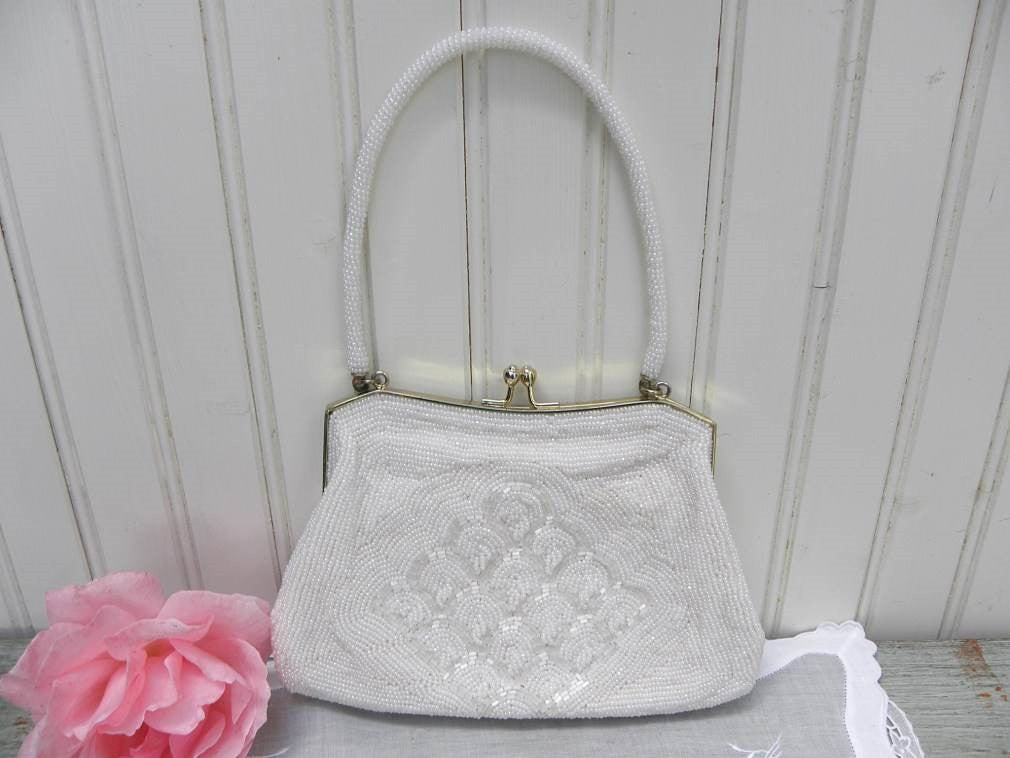 Vintage White Pearl Beaded Evening Bag - The Pink Rose Cottage