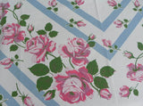Vintage Tablecloth Pink and Purple Roses on Blue Stripes - The Pink Rose Cottage