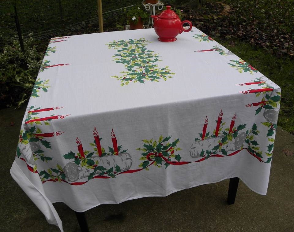 Vintage Christmas Tablecloth Yule Log Birch Log Candles Holly and More - The Pink Rose Cottage