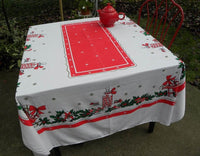 Vintage Christmas Tablecloth with Jars of Candy Holly Candy Canes and More - The Pink Rose Cottage