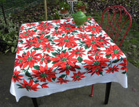 Vintage Bright and Colorful Christmas Poinsettia Tablecloth - The Pink Rose Cottage