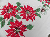 Vintage Christmas Candle Poinsetttia Pine Cone Tablecloth and Napkin Set - The Pink Rose Cottage