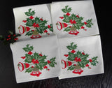 Vintage Christmas Bells and Holly Cloth Napkins - The Pink Rose Cottage