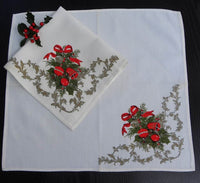 Vintage Cloth Napkins with Christmas Bells and Ornaments - The Pink Rose Cottage