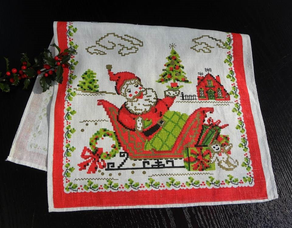 Vintage Parisian Prints Christmas Santa Claus in Sleigh Tea Towel - The Pink Rose Cottage