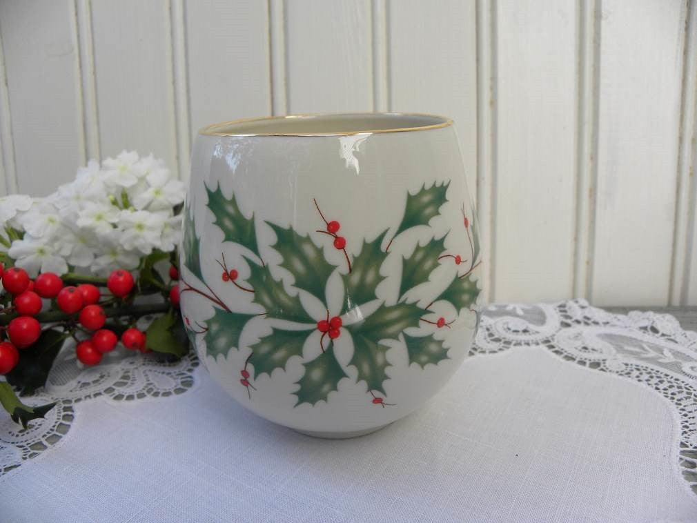 Lenox Holiday Christmas Holly Votive Candle Holder - The Pink Rose Cottage