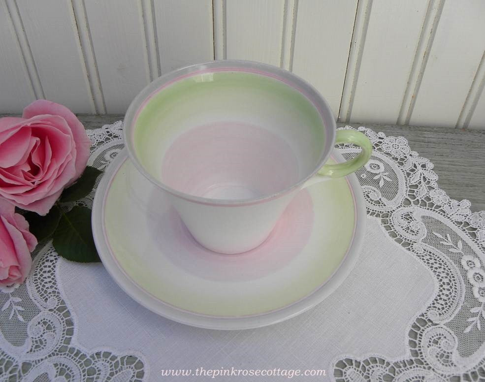 Vintage 1932  Art Deco Shelley Swirls Teacup and Saucer Pink Green Gray - The Pink Rose Cottage
