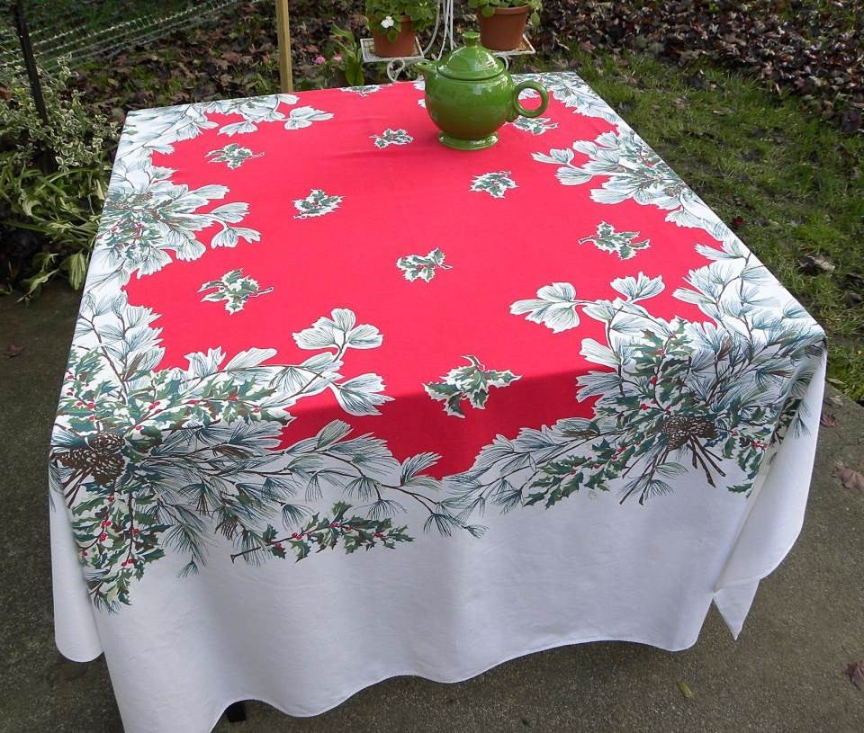 Vintage Christmas Tablecloth with Holly Hollyberries and Evergreen Boughs - The Pink Rose Cottage