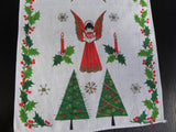 Vintage Christmas Tree and Singing Angel Tea Towel - The Pink Rose Cottage